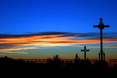 Crosses at sunset Royalty Free Stock Images