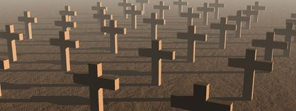 Crosses by sunset. Many crosses in a cemetery by sunset light Royalty Free Stock Image