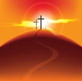 Crosses at sunset royalty free illustration