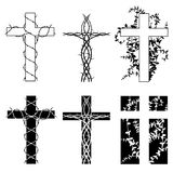 Crosses and thorns. Crosses with thorn vines in two styles Stock Photo
