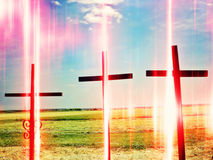 Crosses. Three crosses, death soul concept Stock Images