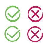 Crosses and ticks signs. Green tick and red cross, ok and crossing check mark vector icons in flat style. Yes and no symbols stock illustration