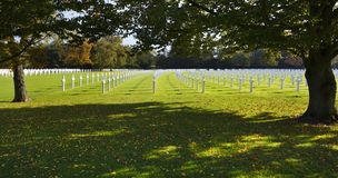 Military Cemetery Crosses Under Trees. Crosses and trees at the American military cemetery Henri-Chapelle near Aubel in Belgium Stock Images