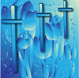 Crosses and Tulips. A background with crosses and layered tulips images in blue tones Royalty Free Stock Photos