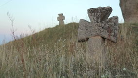 Crosses In a Very Old Cemetery stock footage