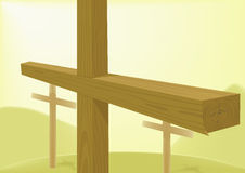 Crosses wooden. Crosses are wooden on a hill Stock Image