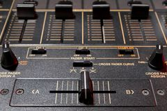 Crossfader of 4-channel professional sound mixer Stock Image
