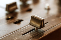 Crossfader on dj mixer in club Stock Image