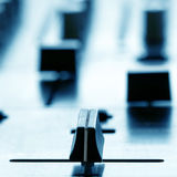 Crossfader on dj mixer in club Stock Photo