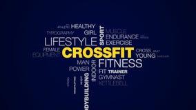Crossfit健身生活方式体育训练个人活跃体型运动员的锻炼健身房给词云彩赋予生命 库存例证