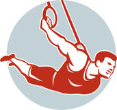 Crossfit Athlete Muscle-Up Gymnastics Ring Retro Royalty Free Stock Photography