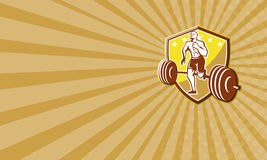 Crossfit Athlete Runner Barbell Shield Retro. Business card template showing illustration of an American crossfit marathon runner running facing front with Stock Photo