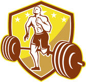 Crossfit Athlete Runner Barbell Shield Retro. Illustration of an American crossfit marathon runner running facing front with barbell weights set inside shield Royalty Free Stock Photos