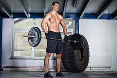 Crossfit - barbell on shoulder training Stock Photos