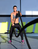 Crossfit Battling Ropes At Gym Workout Exercise Stock Photo