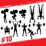 Vector silhouettes of people doing fitness and crossfit workouts Stock Image