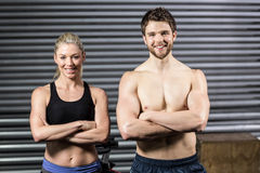 Crossfit couple smilling at the camera Stock Image