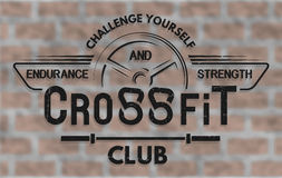 Crossfit El emblema en estilo del vintage Fotografía de archivo