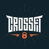 Crossfit emblemat z oryginalnym literowaniem Wektorowy druk dla t-shir Zdjęcia Stock