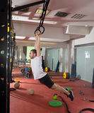 Crossfit fitness dip ring swing exercise man workout Royalty Free Stock Photography