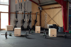 Crossfit fitness studio indoor with equipment Stock Photos