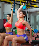 Crossfit fitness weight lifting Kettlebell woman at mirror Royalty Free Stock Photography