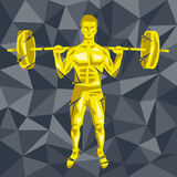CrossFit 42. Geometric Crossfit concept. Back squat. Vector silhouette of man doing fitness and crossfit. Active and healthy life concept Stock Photography