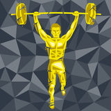 CrossFit 47. Geometric Crossfit concept. Deadlift push press. Vector silhouette of man doing fitness and crossfit. Active and healthy life concept vector illustration