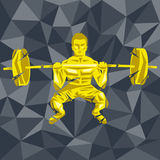 CrossFit 48. Geometric Crossfit concept. Front squat. Vector silhouette of man doing fitness and crossfit. Active and healthy life concept Stock Illustration