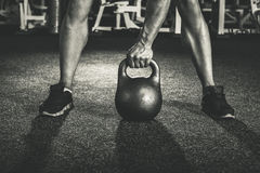 Crossfit kettlebell training royalty free stock photo