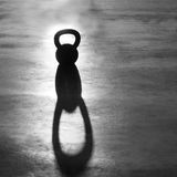 Crossfit Kettlebell weight backlight and shadow Stock Photo
