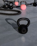 Crossfit Kettlebells Ropes In Fitness Gym Stock Photo