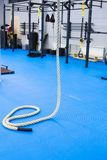 Crossfit rope in gym. Sport concept indoors Stock Photo