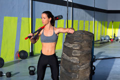 Crossfit Sledge Hammer Woman At Gym Relaxed Stock Photos