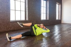 Crossfit training. Beautiful adult woman work out. Studio shot Royalty Free Stock Images
