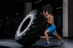 Crossfit training - man flipping tire in gym. A muscular man pushes a big tire Royalty Free Stock Images