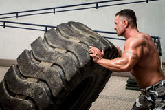 Crossfit training. Muscular Man with Truck Tire doing crossfit style workout turning tire over stock photos