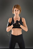 Crossfit woman in black outfit Stock Images
