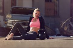 Crossfit Woman Resting After Exercise Stock Photo