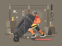 Crossfit workout flat Stock Photo