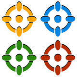 Crosshair/σημαδιών/σταυρονημάτων στόχων εικονίδια στο χρώμα 4 διανυσματική απεικόνιση