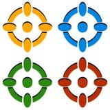 Crosshair/de pictogrammen van het van het doelteken/dradenkruis in kleur 4 vector illustratie