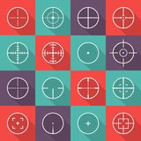 Crosshair icon set. Focus of the eyepiece, optical instrument sight, thin lines centered on a data point in a chart. Vector flat style cartoon illustration  on Royalty Free Stock Photo