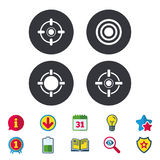 Crosshair icons. Target aim signs symbols. Weapon gun sights for shooting range. Calendar, Information and Download signs. Stars, Award and Book icons. Light Stock Photography