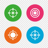 Crosshair icons. Target aim signs symbols. Weapon gun sights for shooting range. Round buttons on transparent background. Vector Stock Photography