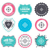 Crosshair sign icon. Target aim symbol. Label and badge templates. Crosshair sign icon. Target aim symbol. Retro style banners, emblems. Vector Royalty Free Stock Images