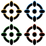 Crosshair / target mark / reticle icons in 4 color Royalty Free Stock Photography