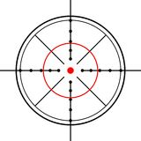 Crosshairs. Focus of the eyepiece of an optical instrument used as a reference line in the field or for marking the instrumental axis —used figuratively to Stock Photos