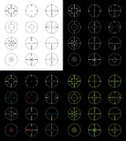 Crosshairs Set. Set of 12 gun sight crosshairs in four different versions for a total of 48 different crosshairs. Positive, negative, night vision, and color Royalty Free Stock Images