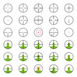 Crosshairs set with red sights. Each crosshair in seperated laye Royalty Free Stock Image